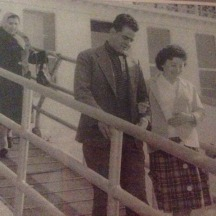 Bessie and Angelo (Paula's Parents) leaving the Olympia in Naples, on way to Pier 21 Halifax