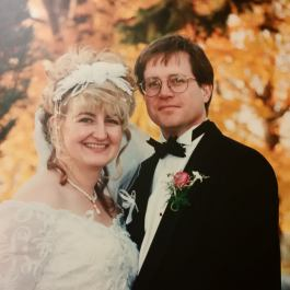 Paula and Rick on their wedding day