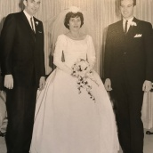 1963 Louis and Toula Wedding - at St George's - Toula with Jim and George, her brothers