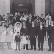 1963 Wedding - at St George's - with Eleini Zakos, Diana Karis, Maria Zakos, Toula Leos, Louis, Tom Annis, Peter Annis, George Zakios, Angie Johnson, Nikki Zakos