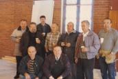 From left to right: Stavros Touris, Fr. Nicholas Psihos, ____, Demitri Stratis, Louis Leos, Pandelis Bettas, George Pandis; Seated: ____, Tom Annis