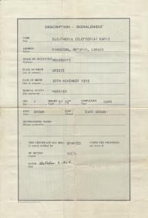 George Karis's wife (Eleftheria)'s naturalization paper 1919