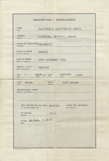 George Karis's wife (Eleftheria)'s naturalization paper 1919