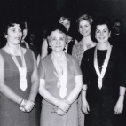 Late 50's Toula (on left) in Daughters of Penelope; with Bessie Zakos, Marina Speal, and Mrs. Speal (George Speal's Mother)