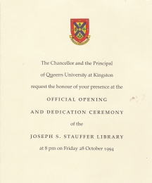 An invitation Chris received to the opening of Stauffer library; something he received for his dedication to Queens through College Variety