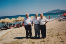 Chris (left) with Peter and Gus, his brothers