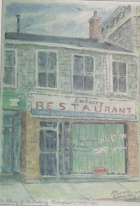 A painting of the embassy restaurant as shown in the Whig Standard