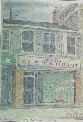 A painting of the embassy restaurant as shown in the Whig Standard.