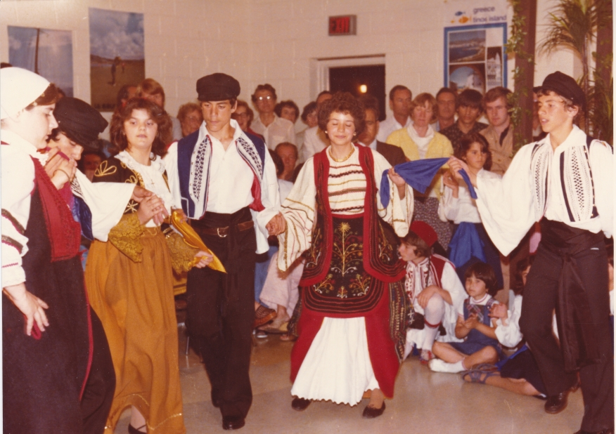 1978-80 Folklore in the church hall. Dancers include Laura Lampropoulos, Lita Argyropoulos, George, Karkoulis, and George Stratis.