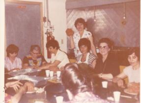 1978 Folklore - preperation for folklore in the old kitchen, with Thetis Psalidis, Vlahakis, Kostoula Nikas, Toula Leos, Anna Poulos, (Mrs. Galanis's mother), Emily Katsarouchas