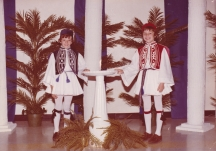 Jim and Toni (Chris's kids) at a Folklore, wearing costumes that Murva made