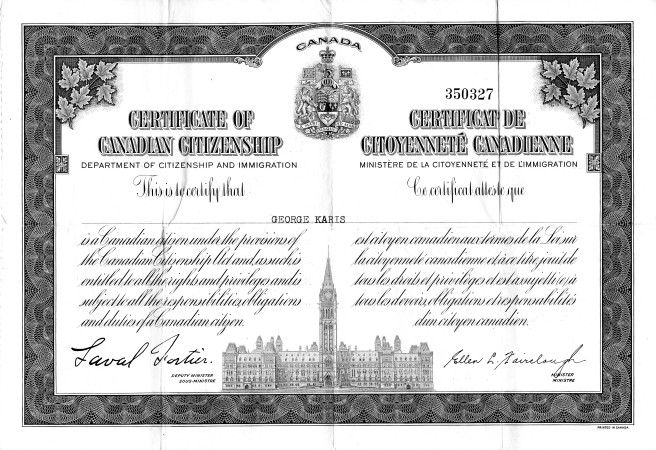 george karis canadian citizenship