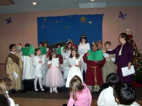Cleo teaching Greek School